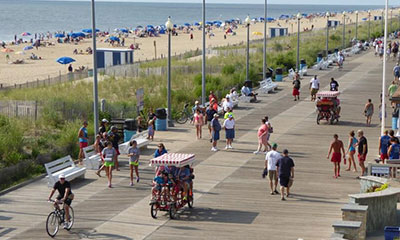 Aerial view of people on boardwalk